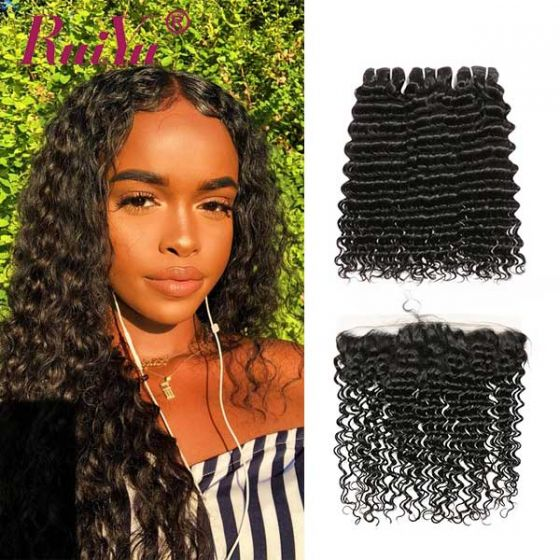 Ruiyu Brazilian Deep Wave Real Human Hair 3 Wefts With Lace Frontal 278c4e1b9