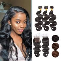 Ruiyu Cheap Body Wave Hair 3 Bundles With Lace Closure 100% Human Hair