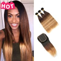 RUIYU Ombre  1B/Burgundy Ombre Human Hair Bundles With Closure 99J