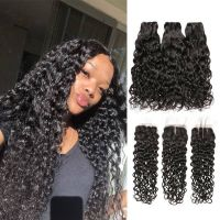 RuiYu 8A Grade Wet And Wavy Water Wave Human Hair 3 Bundles With Closure