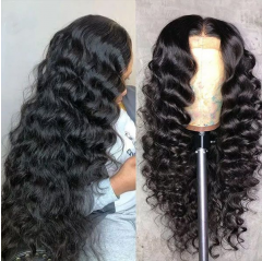 """4x4 HD Transparent Lace Closure Wig """"Cute"""" Loose Wave Curl Preplucked Natural Hairline 180% Density"""