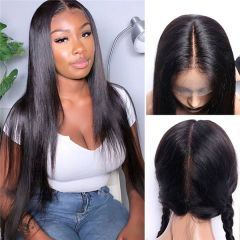 Silky Straight Brazilian Virgin Hair Glueless Straight Full Lace Wigs