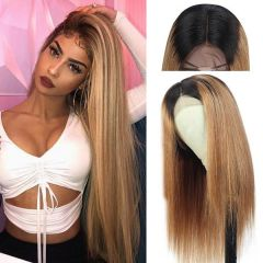 Ombre 1B/27 Color Body Wave Lace Front Human Hair Wigs