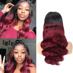 Ombre 1B/27 Color Body Wave Lace Front Human Hair Wigs For Black Women With Baby Hair Natural Hairline