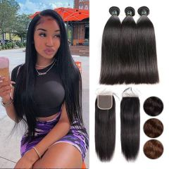 RuiYu 8A Remy Hair Silk Straight Hair 3Bundles With Lace Closure