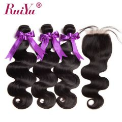 Ruiyu Body Wave Malaysian Hair Extension With Lace Closure 100% Human Hair