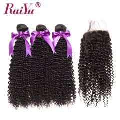 Ruiyu 8A Kinky Curly Hair Bundles With free part Lace Closures