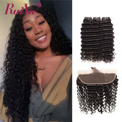 Ruiyu Malaysian Human Hair Weave Deep Wave 3 Bundles With Lace Frontal