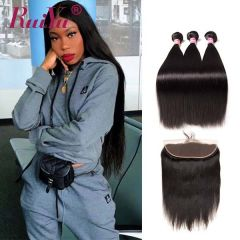 Hot Sale Ruiyu Malaysian Straight Human Hair 3Bundles With Lace Frontal