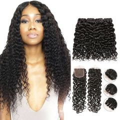 RuiYu Water Wave 8A Human Hair Bundles With Closure 4*4 Virgin Hair