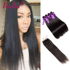 Ruiyu 8A Human Hair Bundles Brazilian Straight Hair 4Pcs With Lace Closure