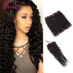 Ruiyu Human Hair Bundles Deep Wave With 4*4 Lace Closure
