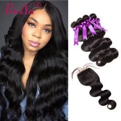 Ruiyu 100% Human Hair Brazilian Body Wave 4 Bundles With Lace Closure