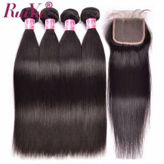Ruiyu Malaysian Straight Hair Weaves 4 Bundles With Lace Closures