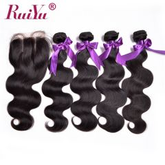 Ruiyu Virgin Malaysian Hair Body Wave Weave 4 Wefts With Lace Closure