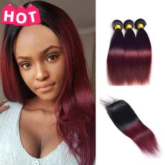 RUIYU straight hair 1B/99J Ombre Human Hair Bundles With Closure