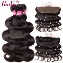 Ruiyu Malaysian Human Hair Body Wave 3 Bundles Real Hair Extensions With Frontal