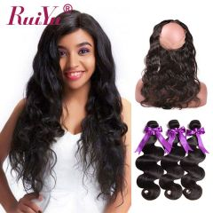 Ruiyu Body Wave Hair Bundles With 360 Lace Frontal Closure