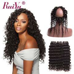 Unprocessed RuiYu Human Hair 2 Bundles Deep Wave With 360 Lace Frontal