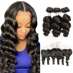 Ruiyu Peruvian Human Hair Deep Wave Hair Bundles With Lace Frontal