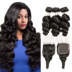 Ruiyu Malaysian Virgin Hair 3 Weft Deep Wave With 4*4 Lace Closure