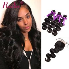 Ruiyu Body Wave Brazilian Hair Extension With Lace Closure 100% Human Hair