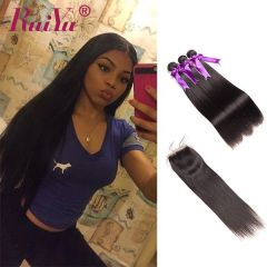 Ruiyu Brazilian 8A Human Hair 3 Bundles Straight Hair With Lace Closure