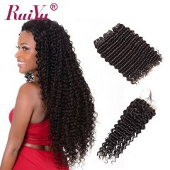 Ruiyu Unprocessed Malaysian  Hair 3 Weft Deep Wave With 4*4 Lace Closure