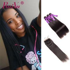 Ruiyu Malaysian 8A Human Hair 3 Bundles Straight Hair With Lace Closu