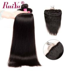 Ruiyu 3 Bundles Straight Brazilian Human Hair With Lace Frontal