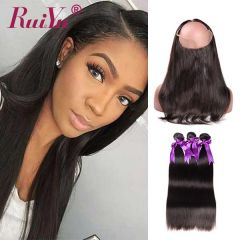 RuiYu Remy Straight Hair 360 Lace Frontal With 3pcs Virgin Hair Bundles