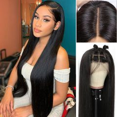 Straight 4x4 Lace Closure Wig 100% Virgin Human Hair Lace Front Wig