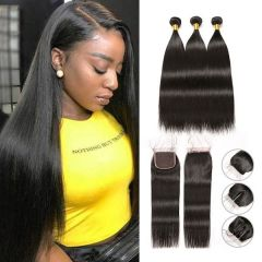 RuiYu 8A Human Hair Bundles Straight Hair With Lace Closure Best Hair Extensions