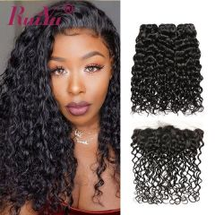 Ruiyu Brazilian Water Wave Real Human Hair 3 Bundles With Lace Frontal