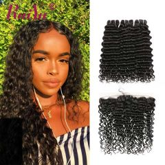 Ruiyu Brazilian Deep Wave Real Human Hair 3 Wefts With Lace Frontal