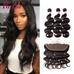 Ruiyu Best Brazilian Hair Body Wave 3 Bundles Hair Extension With Lace Frontal