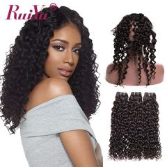 RuiYu Virgin Human Hair 2 Bundles Water Wave With 360 Lace Frontal