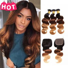 RuiYu Straight Brown to Blonde Ombre 3 Bundles with Closure