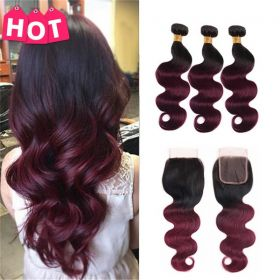 RUIYU 8A 1b99j Pre-colored  Body Wave Ombre Hair Burgundy Human Hair Bundles With Closure