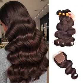 RuiYu Body Wave 3 Bundles With Closure #2/#4 Brown 8A Remy Hair