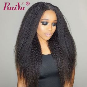 Ruiyu Yaki Straight 3Bundles Human Hair Extensions With Lace closure