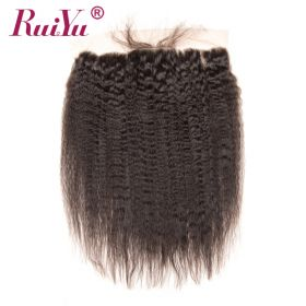 RuiYu 8A Unprocessed Virgin Hair Kinky Straight Hair 4X13 Lace Frontal Hair