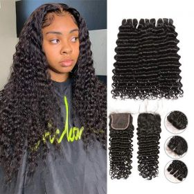 Ruiyu Cheap 8A Remy Hair Deep Wave Hair 3 Bundles With Lace Closure
