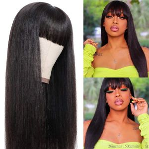 New In Cheap Short Bob Straight Human Hair Wigs With Bangs