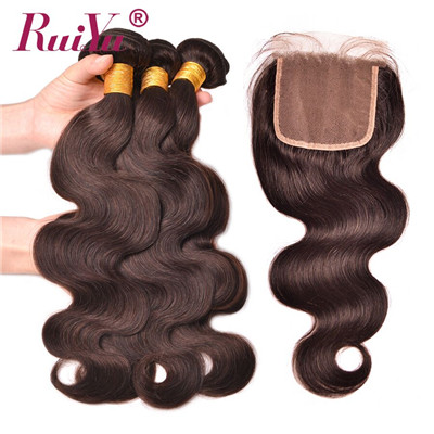 Hot Sale #2 colored hair body wave  extensions with closure