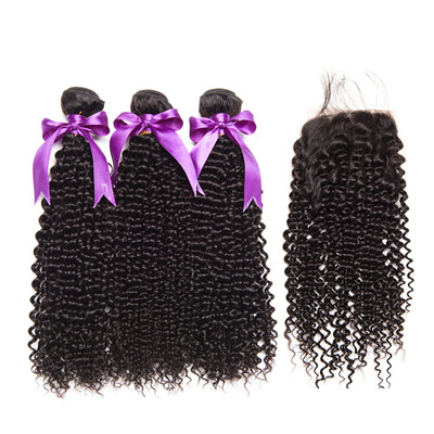 hot sale jerry curly bundles with 4*4 lace closure with baby hair