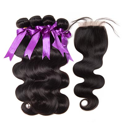 8A human hair body wave 4 extensions with lace closure