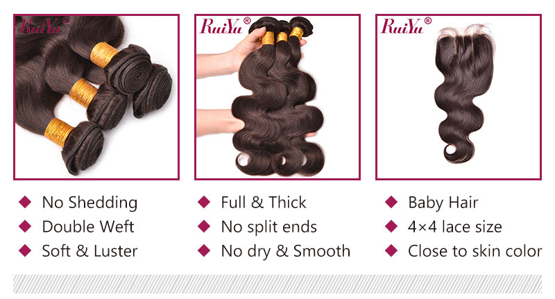 #2 natural hair body weave bundles and closure