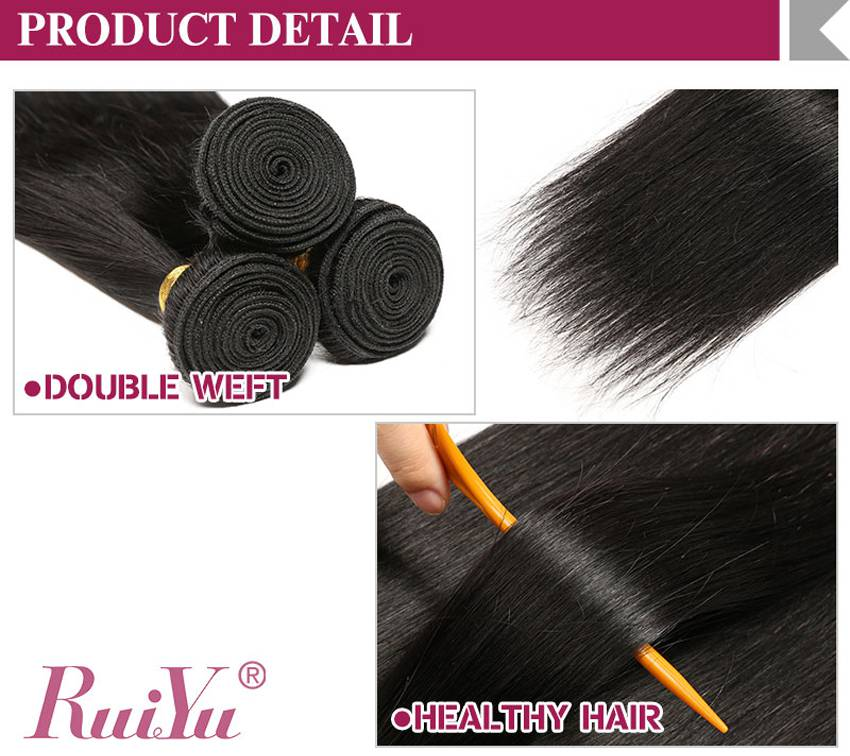remy human hair straight bundles with closure no shedding
