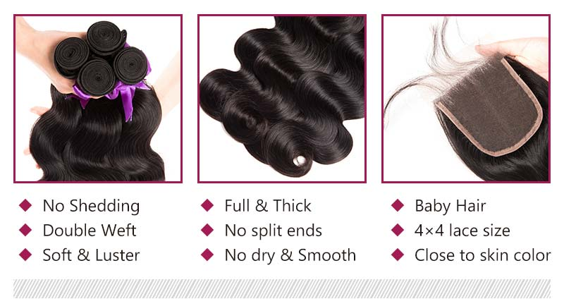 natural black body wave hairstyles bundles and lace closure